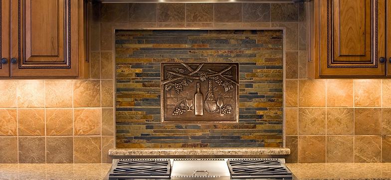 Slate tile kitchen backsplash
