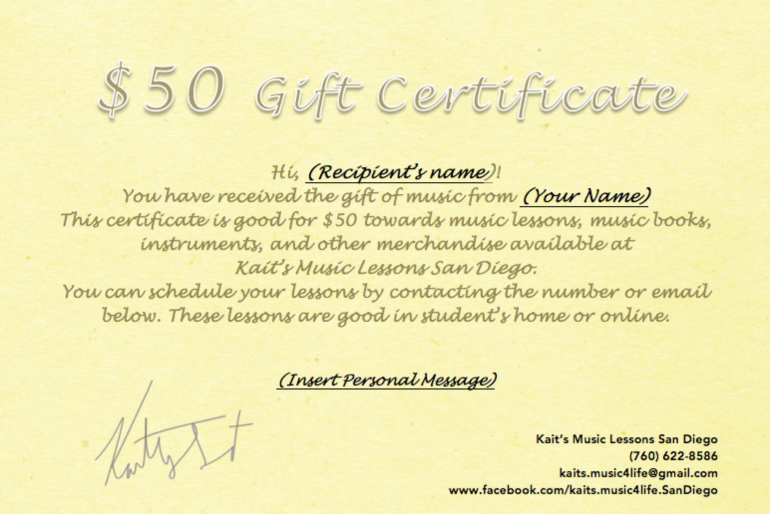 Kaits music lessons 50 gift certificate 1betcityfo Images