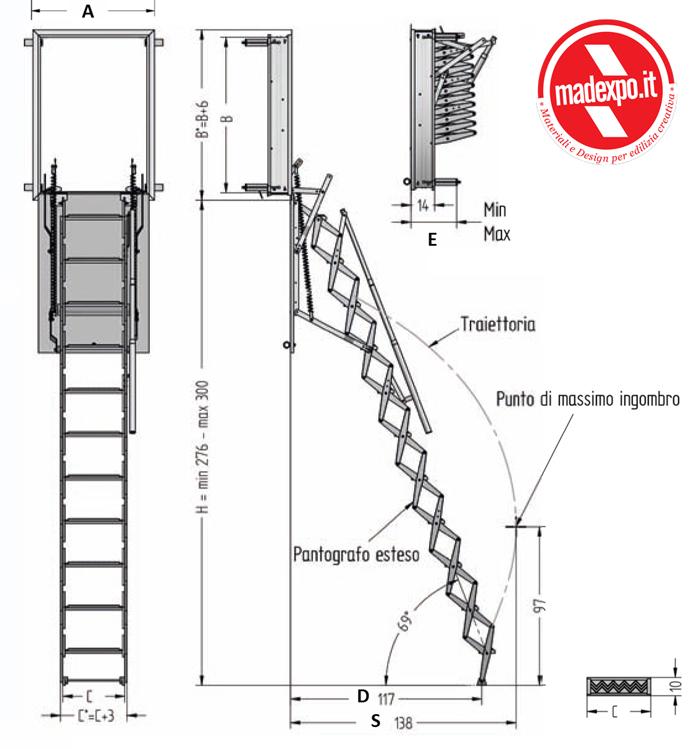 Scale retrattili a parete verticale scala retrattile - Scale a parete ...