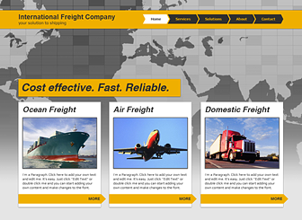 International Freight Template - Expand your global reach with this polished and professional website template. Upload images and add text to describe your services and promote your company profile. Build a unique website and leave your mark online.