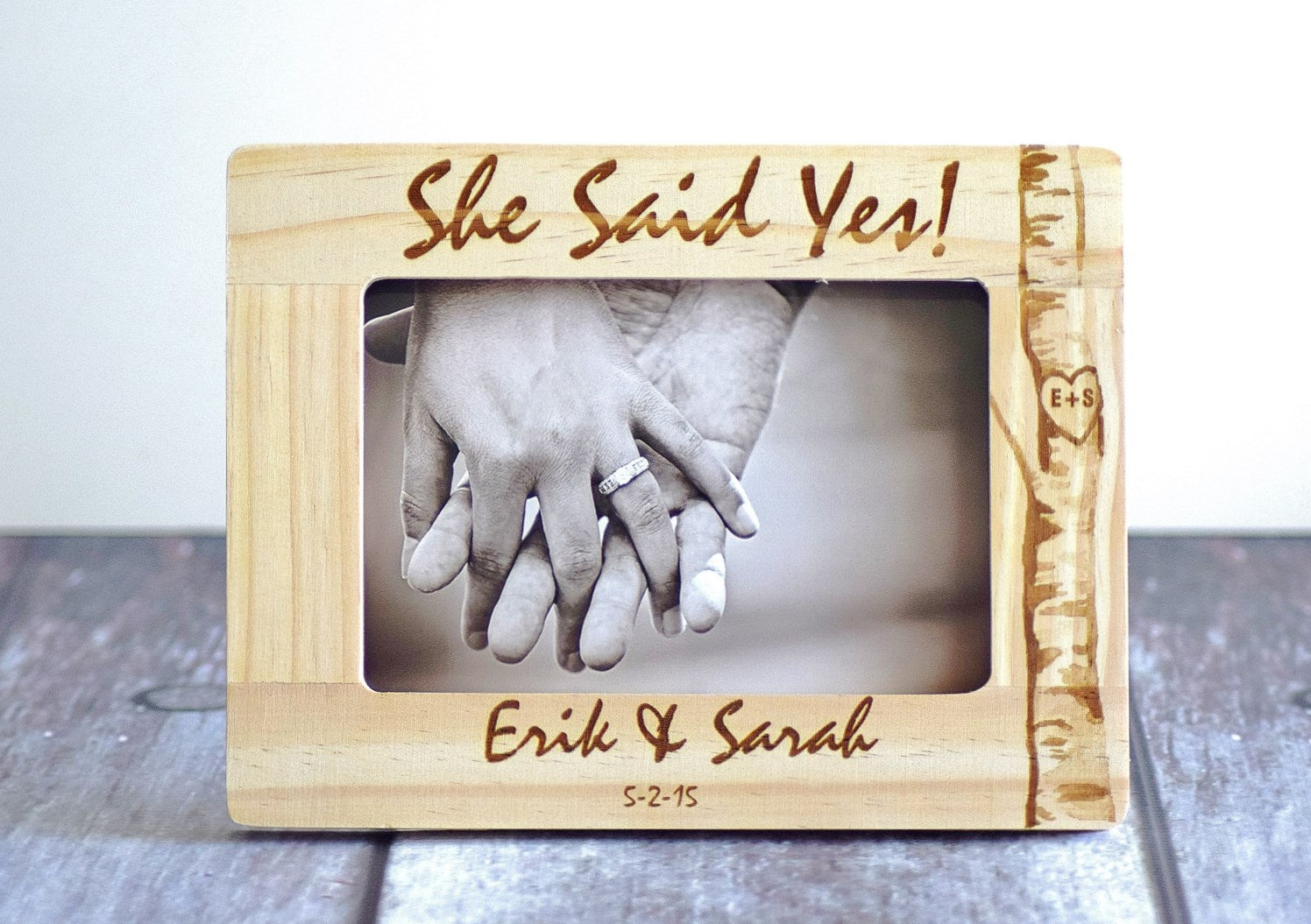 custom wood wonders personalized rustic wedding gifts and home decor she said yes engagement gift