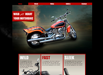 Wild Motorbike Template - An adventurous website template that captures the spirit of the open road. Customize the photo and video galleries to show off your unique designs from every angle. Start editing to kick your business into gear!