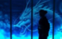 青い龍のアート作品