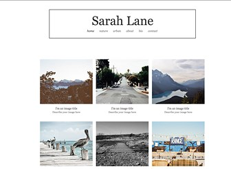 Photographe d'Extérieur Template - This neutral template is the perfect home for your portfolio. Upload photos, add blog posts, and post your contact information, and watch your photography pop! The minimalist, stripped-down design is perfect for the picture that speaks a thousand words.