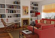3D: Salón con chimenea