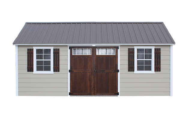 Oakland Stuctures, Cottage Style Shed, Double Doors, Metal Roof