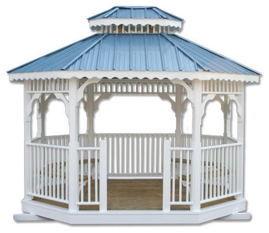 Gazebos, Wooden, White, Blue Metal Roof.