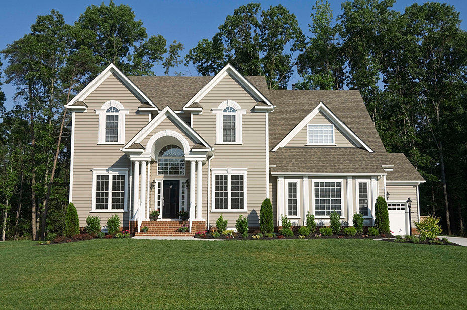 Home solution title beige house for Stucco and siding combinations