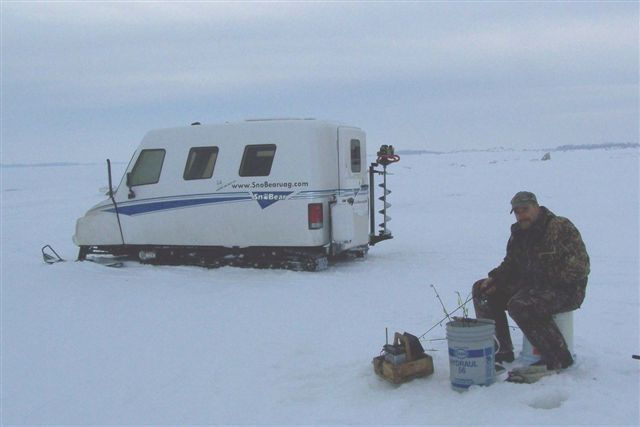 Snobear icefishing snow track vehicle for Snow bear ice fishing