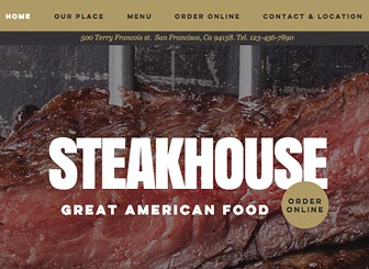 Steakhouse Template - Express the unique atmosphere of your eatery with this rustic and traditional feeling steakhouse template. With an easy-to-edit menu, this is the perfect place for hungry diners to browse your menu and make reservations. Simply upload images of your sumptuous dishes to set stomachs rumbling.