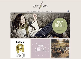 Scarf Shop Template - Customize this cozy and chic theme to take your retail store online. Add text and upload images to showcase sales items and highlight your brand's unique features. Adjust the color palette and design to make your very own fashion statement.