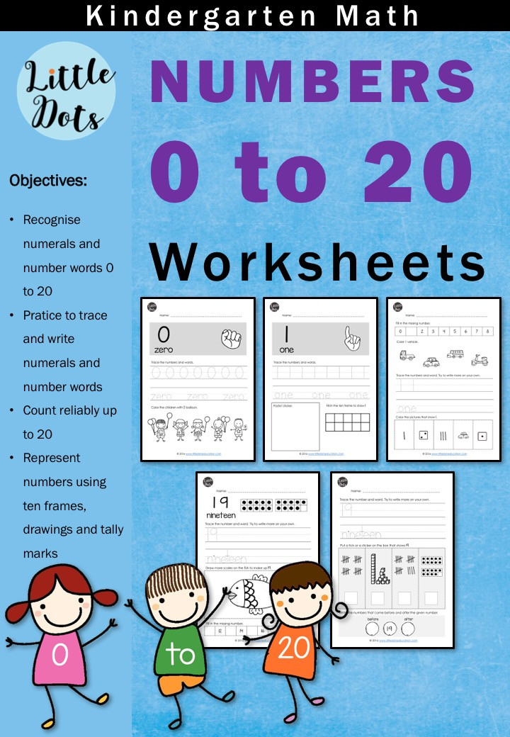Kindergarten Numbers 0 to 20 Worksheets and Activities | Little Dots ...