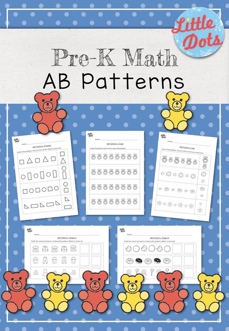 Pre-K Math AB Patterns Worksheets and Activities | Little Dots ...