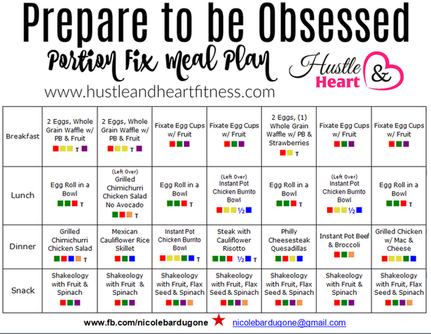 Countdown To 80 Day Obsession Portion Fix Meal Plan