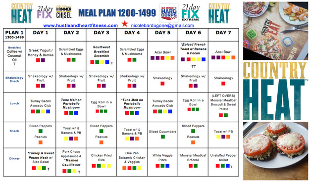 Country Heat Meal Plan with Recipes - 1200-1499 Bracket (21 Day Fix Meal Plan) | Hustle & Heart ...