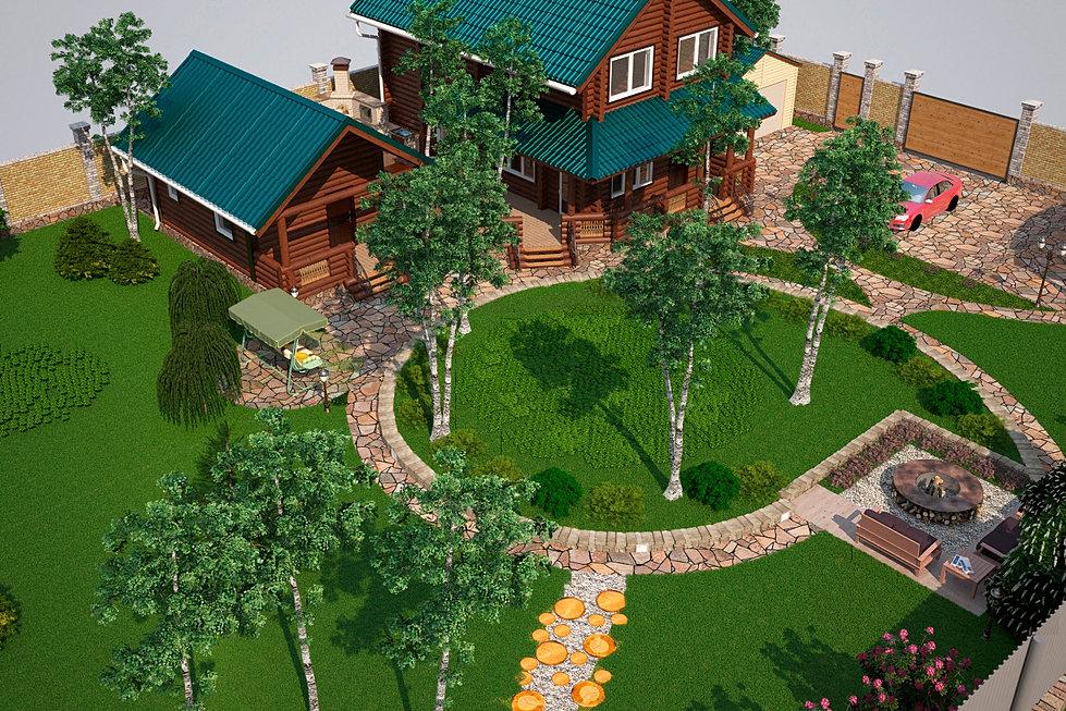 Ландшафтный дизайн дома 10 соток