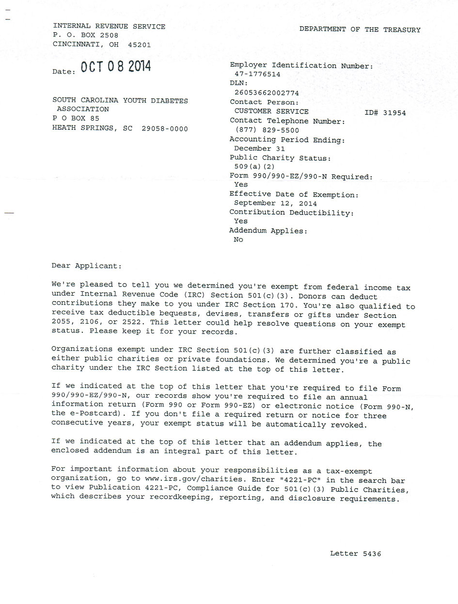 irs recognition letter c  scyda