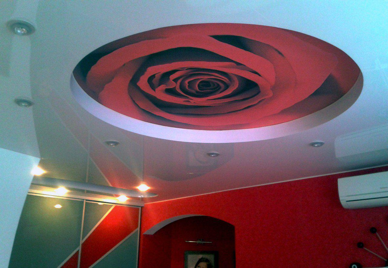 Дизайн потолок с фотопечатью