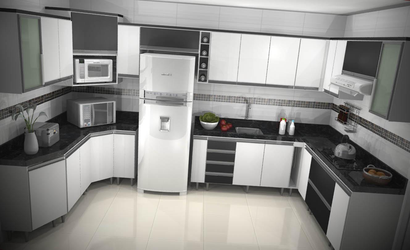 Armário de Cozinha Planejado  Móveis Planejados  Brasil  Kaza Store # Armario De Cozinha Planejado Em U