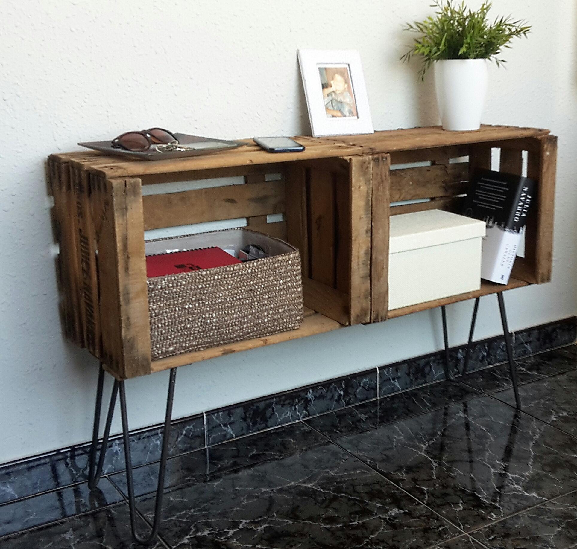 Mueble recibidor con cajas de fruta Kangei  Nekodecor  arte con
