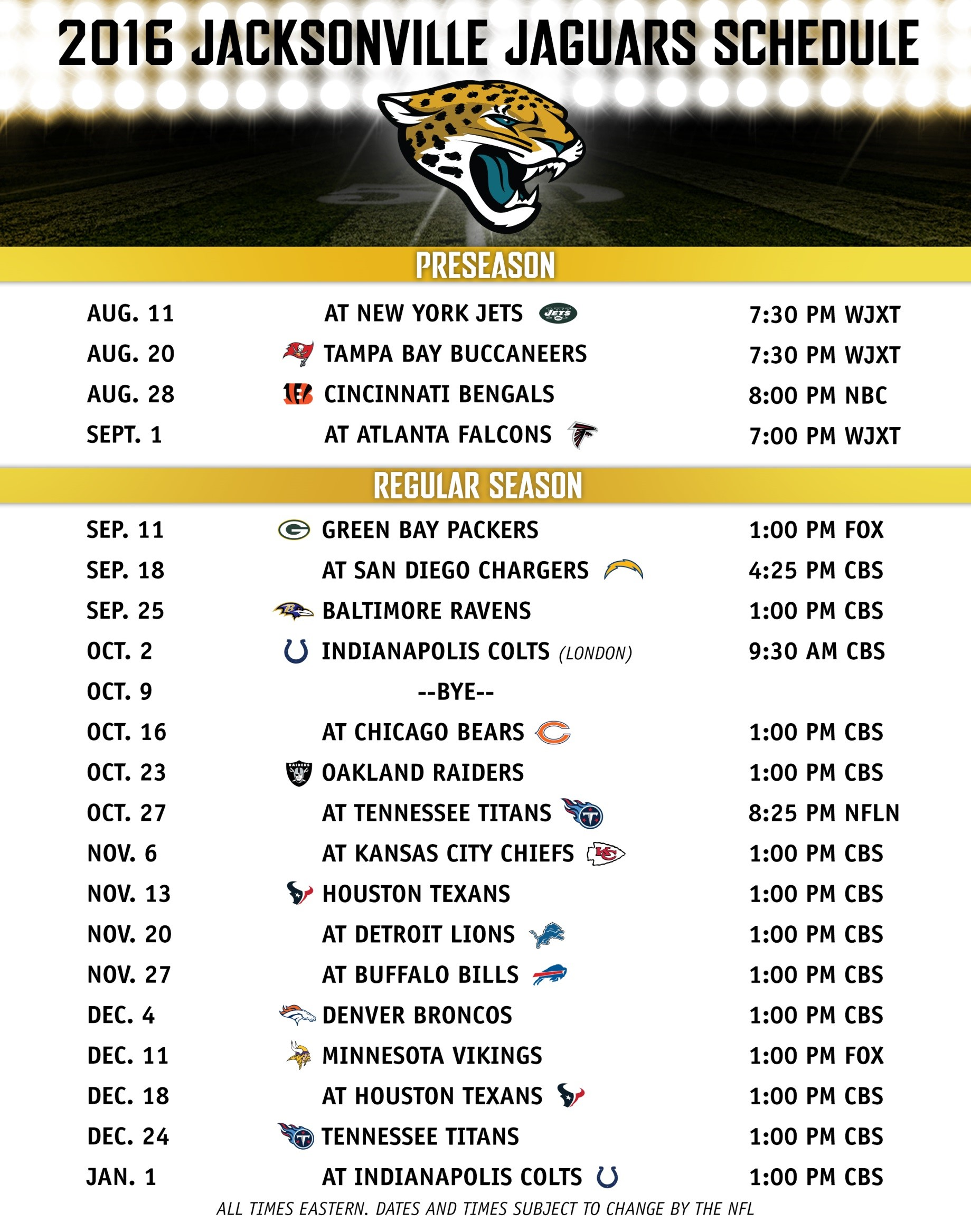 official jacksonville jaguars booster club 2016 jags schedule. Cars Review. Best American Auto & Cars Review
