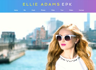 EPK Pop Singer Template - Bubbly and feminine, professional and impressive, this Electronic Press Kit (EPK) template is perfect for young rising pop stars and performers. Put yourself in the limelight with a large coast to coast gallery, easily add your biography, promote your music with Wix Music, publish your tour dates, and showcase your videos to the media.