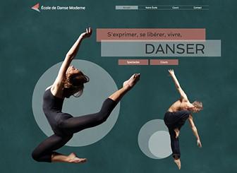 École de Danse Moderne Template - Propulsez votre école de danse au sommet avec ce template élégant et gracieux. Téléchargez des images et des vidéos pour montrer votre talent et personnalisez le texte pour informer le public de vos cours et spectacles. Commencez à modifier pour apparaître en ligne!