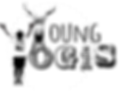 young yogis logo. kids yoga. handstand. black and white