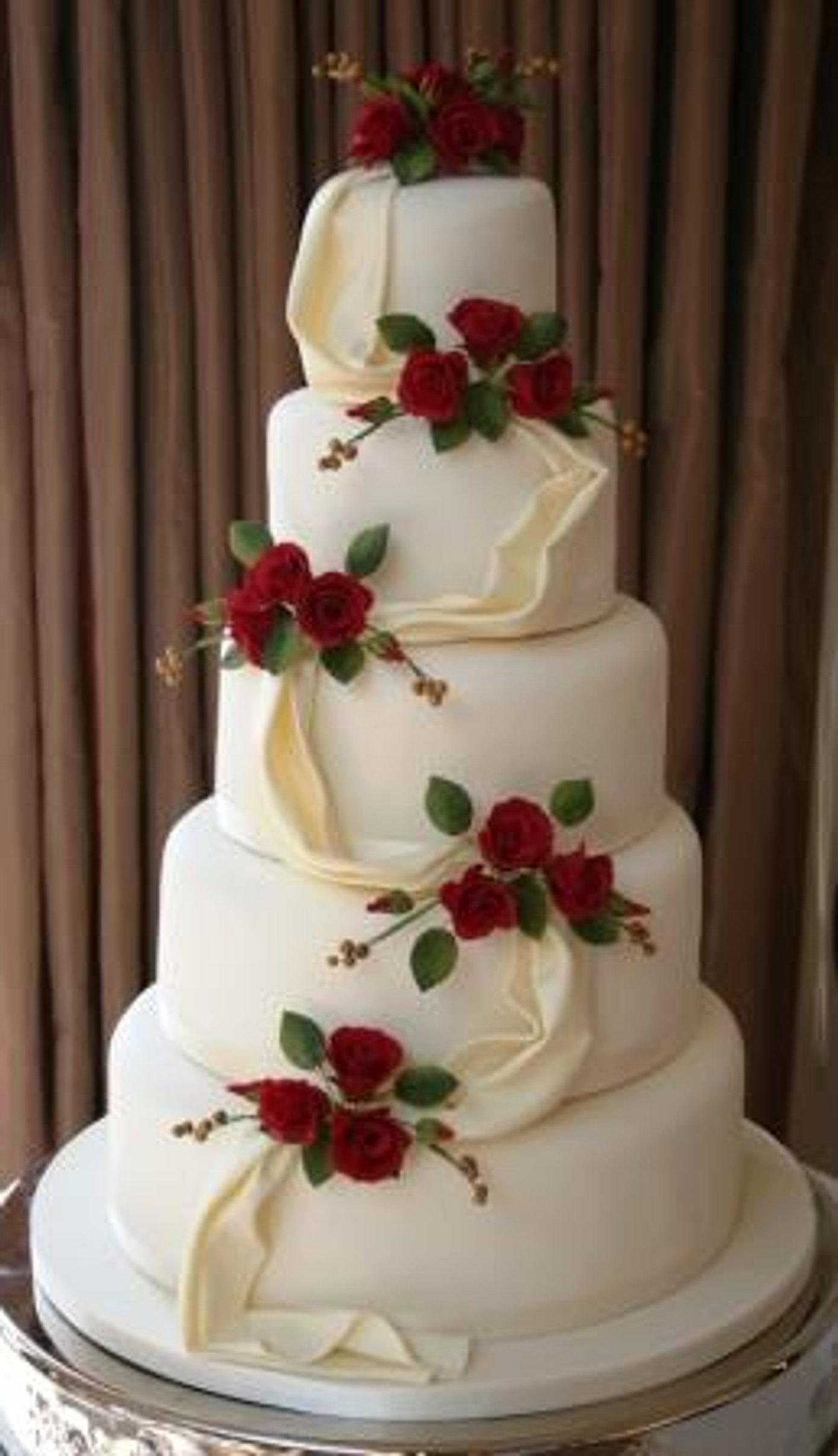 rose and drapping 5 teir wedding cake brisbane.jpg