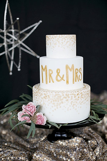 White & Gold Wedding Cake | Brisbane