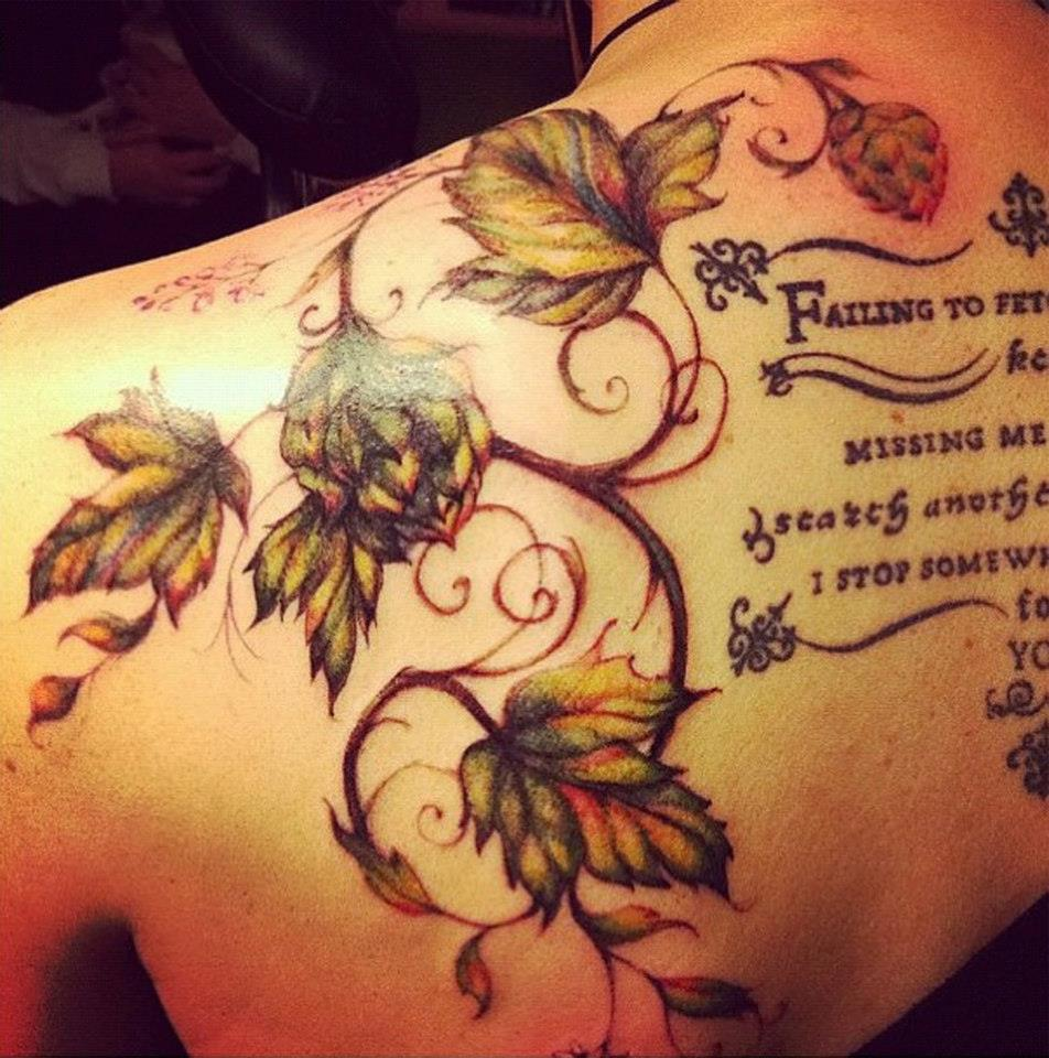 Lookingglassnj hops tattoo by amber opal for Looking glass tattoos
