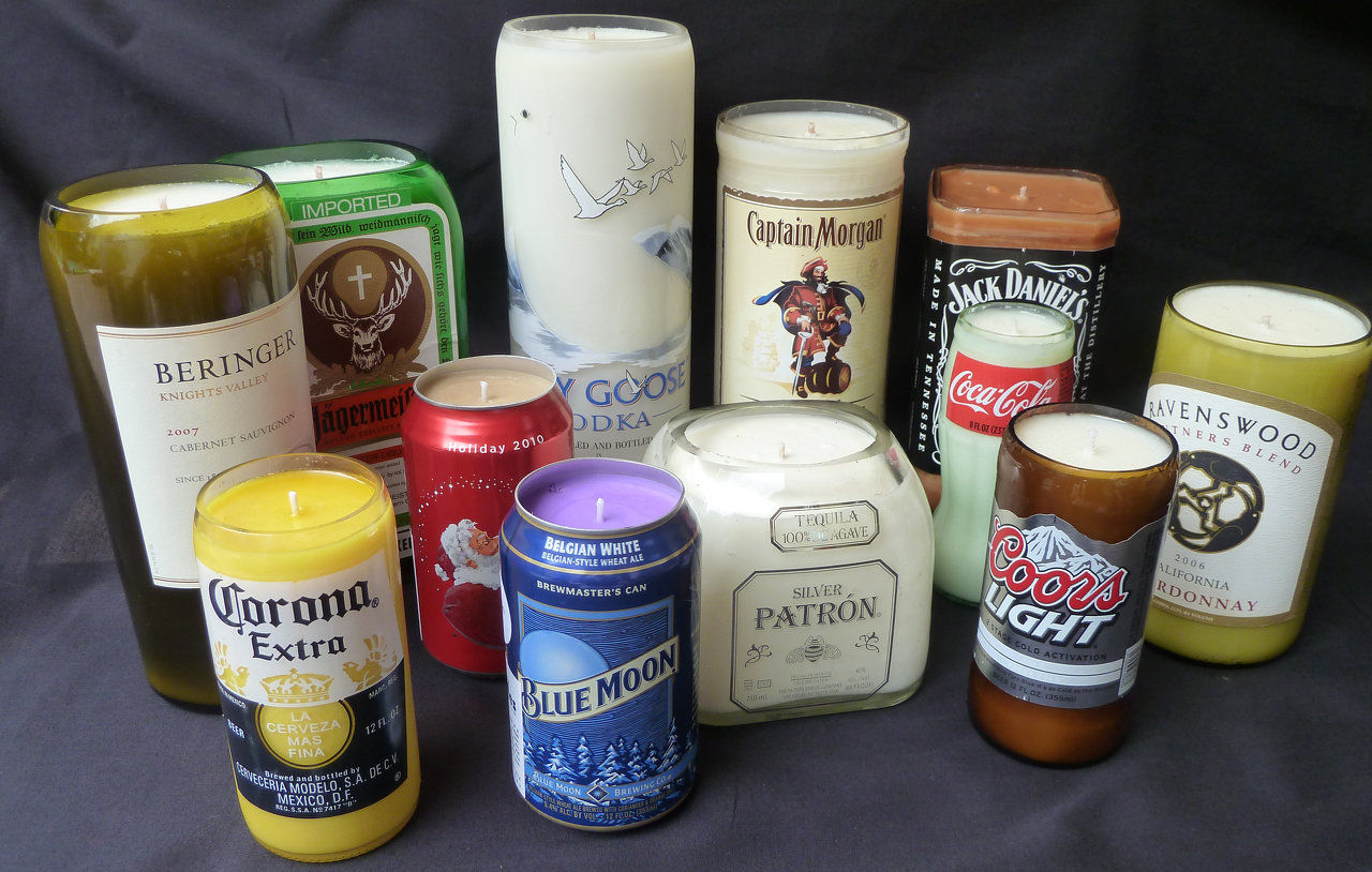 Alcohol candles liquor bottle candles beer candles for Different brands of candles