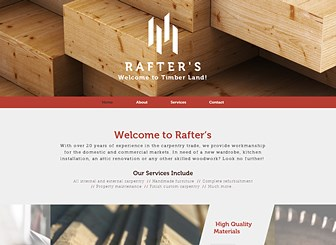 Carpenter Template - Craft a beautiful website with this earthy, welcoming template, perfect for anyone wishing to promote a skilled profession. The elegant layout and impressive coast to coast slide gallery allows you to create an impressive yet warm website in just a matter of moments. Click now and construct a beautiful website to compliment your business.