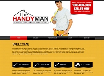 Handyman Template - A do-it-yourself website template for your construction business or handyman service. Take advantage of the generous space for text to add testimonials and detailed descriptions of your services. Customize the design and color scheme to craft a professional website for free!
