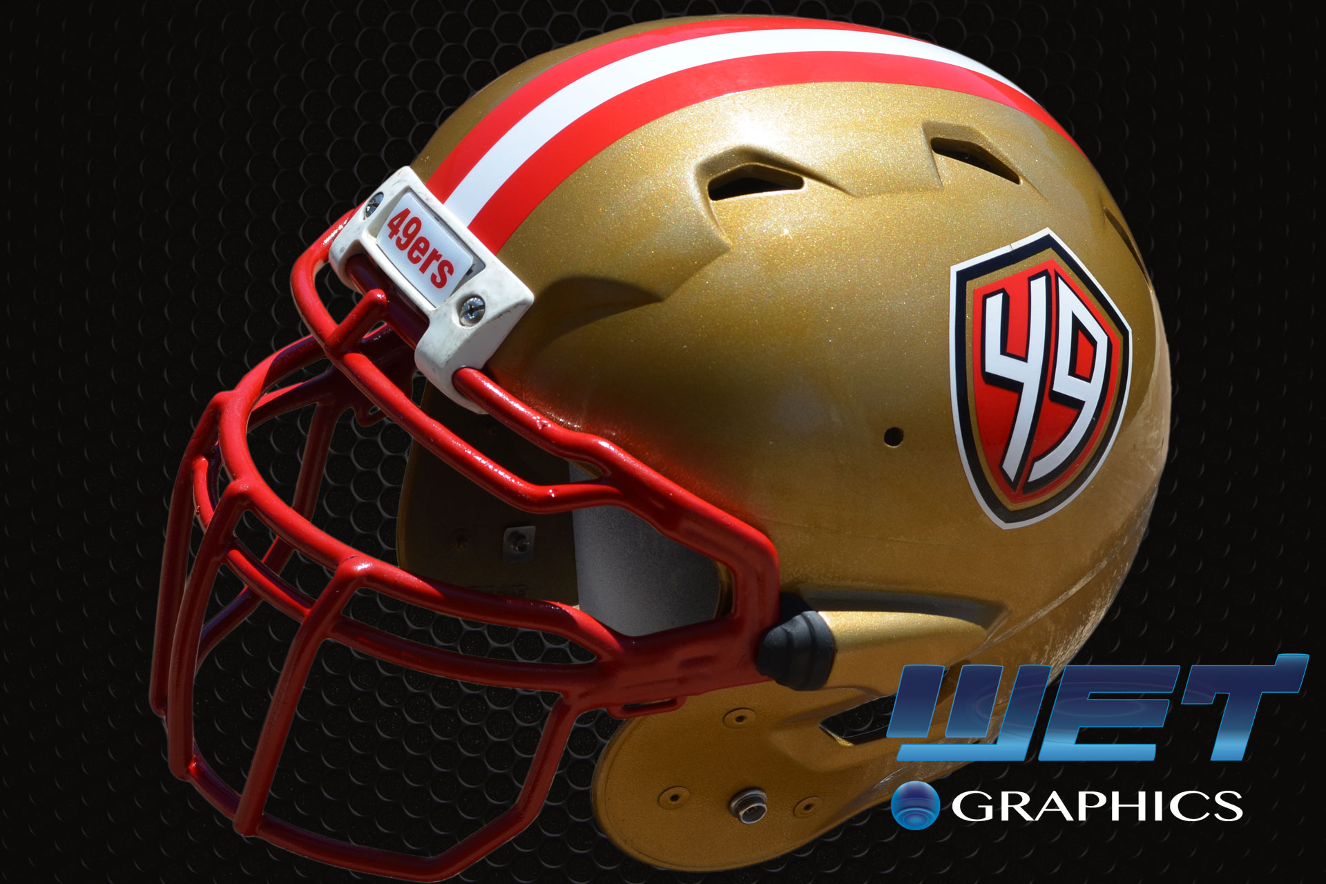 Football Helmet Vinyl Wraps : Ers custom painted football helmets wet graphics