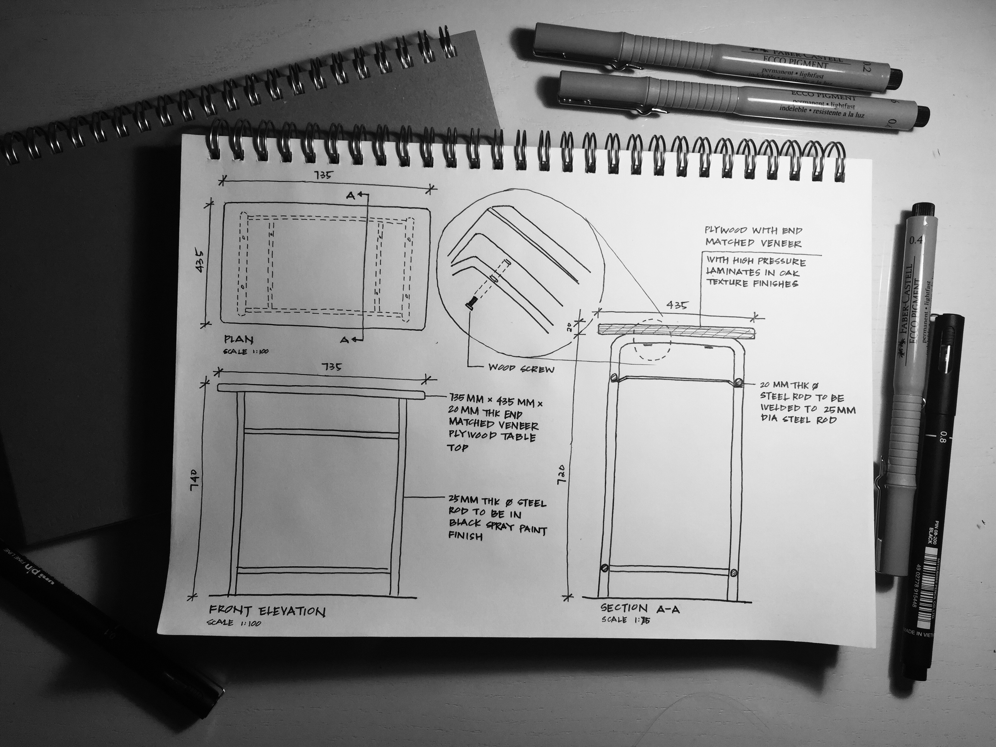 Our first task is to find any furniture in the studio and draw the detail drawing of it and here it is a study desk for our group