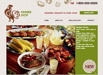 Meal Delivery Template - Rustic illustrations and friendly fonts give this template a homestyle feel. Customize the text and upload your own photos to create a warm and welcoming website that represents your restaurant or catering service. Bon appétit!