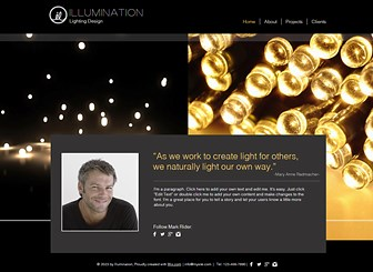 Lighting Design Template - The contrast of the enticing soft glows against the dark background of this website template makes this the perfect platform for anyone wishing to showcase their lighting design. Use the project page to build an online portfolio by uploading photos and descriptions of your work. Simply click edit to create a stunning website and illuminate your online presence today!