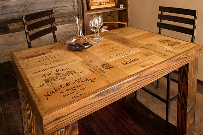 Alpine wine design lakewood co custom wine crate table for Wine crate furniture