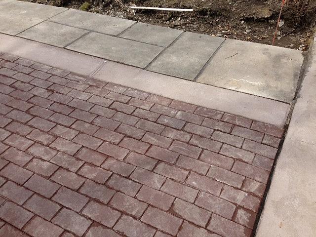 Concrete driveway with brick border