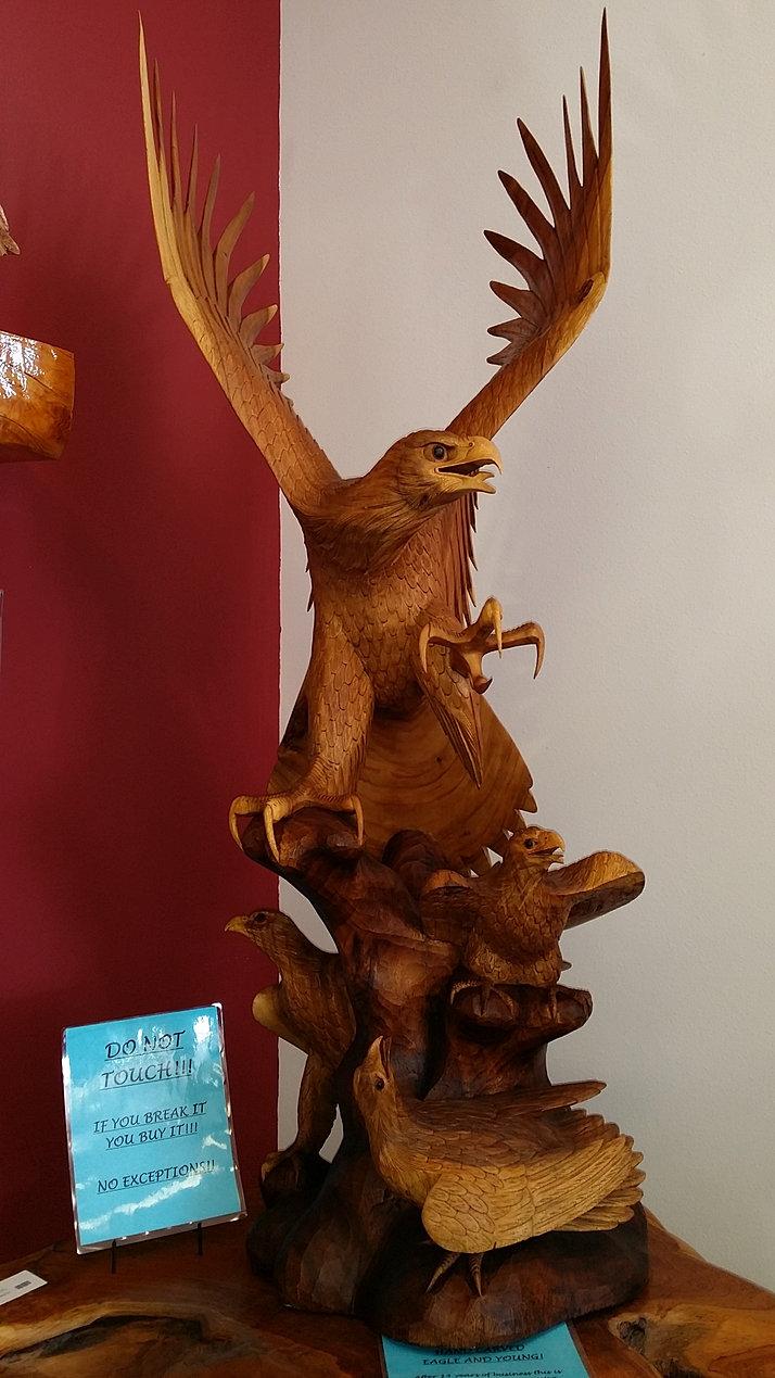 Hand Carved Teak Wood Eagles