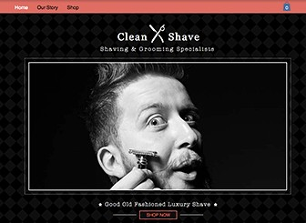 Shave Shop Template - With its cool retro vibe, this eCommerce template is perfect for showing your wares in a most sophisticated way. Upload your product images and add text to highlight your products and explain their utility; customize colors and fonts and make this template your own.