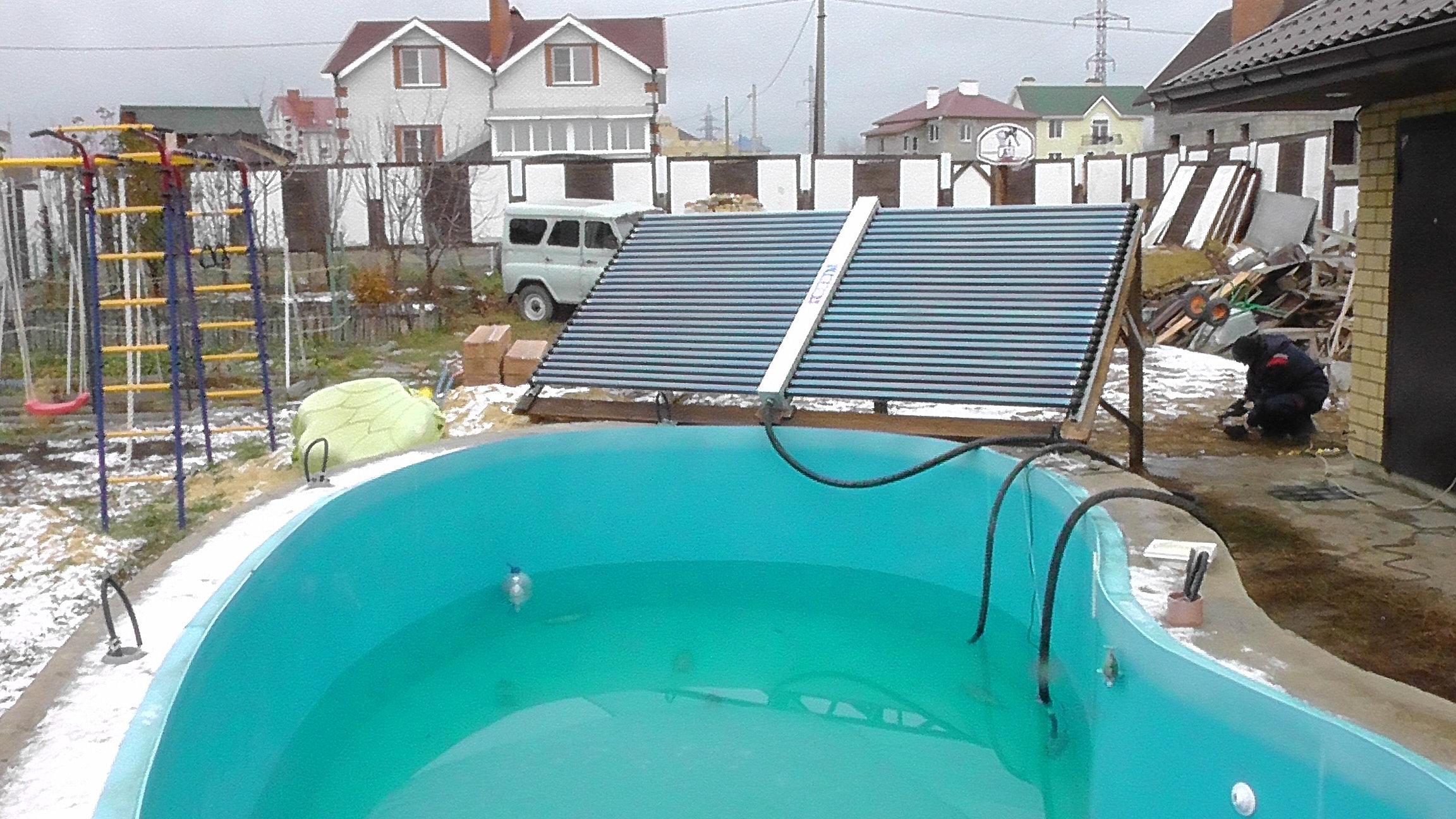 Бассейн с солнечным коллектором своими руками