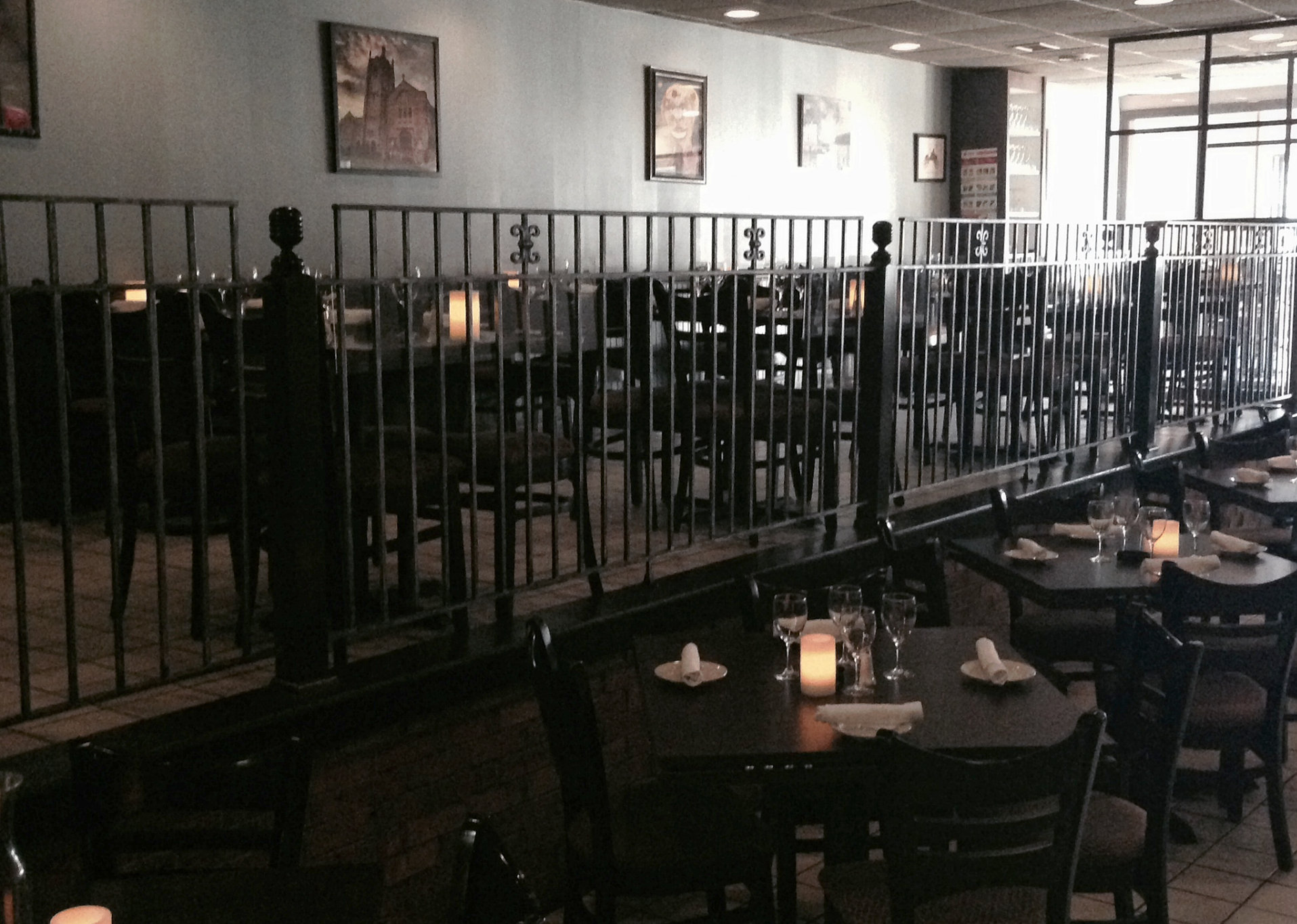 The brick oven dining room for W hoboken in room dining