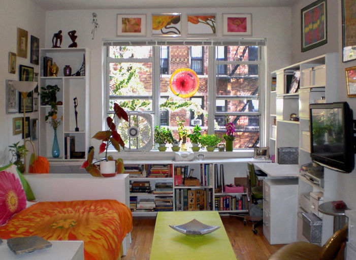 Small Space Organization nyc small space design, custom shelves, organization, interior