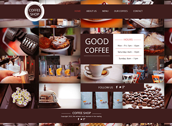 Coffee Shop Template - Create an online presence for your café or restaurant with this modern website template. Add an elegant menu and customize the design and color scheme to suit your style. Take your business to the next level today!
