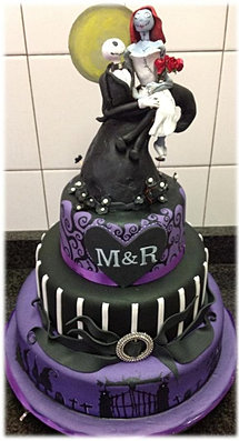 black and purple nightmare cake - Nightmare Before Christmas Wedding Rings
