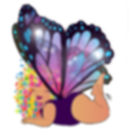 purple butterfly wings art by toni tails plus-size curvy latino fairy with flowers in her hair
