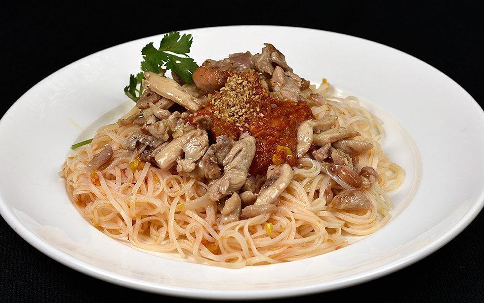 yum rice chicken coconut gravy noodles chicken ginseng broth noodles ...