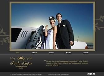 Fotografía de bodas Template - Las fuentes elegantes y detalles dorados le dan un toque lujoso a esta plantilla. Perfecta para fotógrafos de bodas y compromisos, el deslizador de imágenes te permite mostrar tus proyectos con estilo. Diseña una web única y lleva tus talentos online.